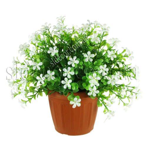 Искусственный куст с белыми цветочками