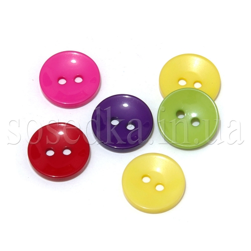 Пуговицы круглые пластиковые цветные