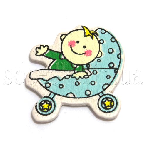 Коляска с ребенком на липучке