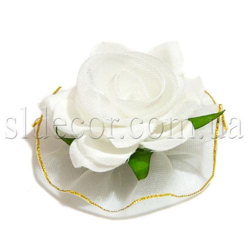 Головка роза белая ткань