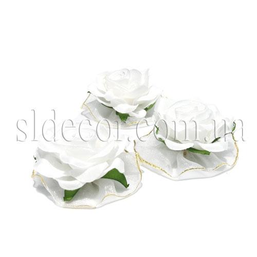 Головки роз из трех видов ткани