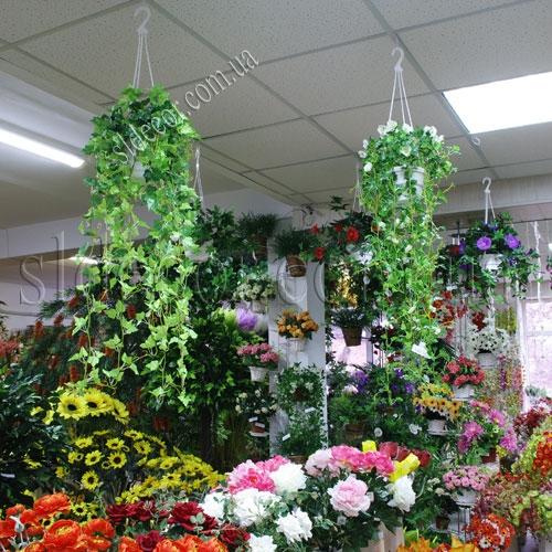 Куст искусственной зелени свисающий