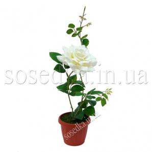 Роза искусственная в пластиковом горшочке