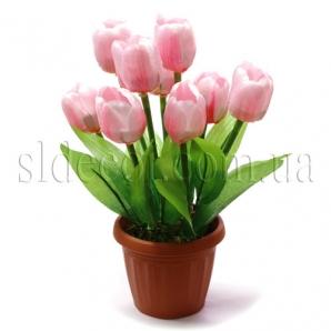 Тюльпаны искусственные в пластиковом горшочке