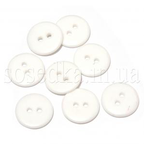 Пуговицы белые круглые пластиковые