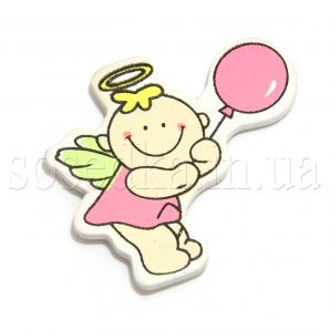 Ангелочек с розовым шариком наклейка